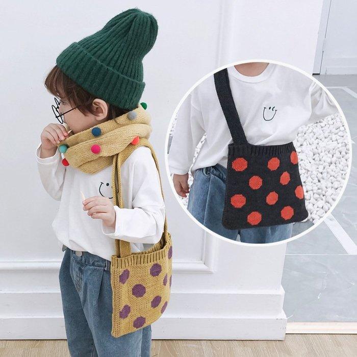 【小阿霏】兒童單肩包  撞色點點針織日系側背包 寶寶女童小包零錢包斜背包  時尚搭配單品BA09