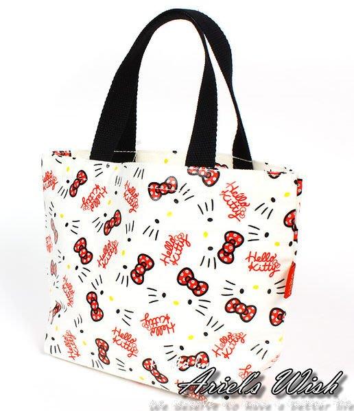 Ariel's Wish-日本限定Hello Kitty白色底銀色亮粉蝴蝶結凱蒂貓帆布包手提包便當袋外出袋-現貨*1