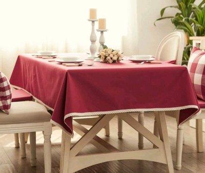 LIKE zakka日式桌布台布餐桌布紅色防水桌巾棉麻蕾絲包邊 櫻桃紅 130×220 訂製