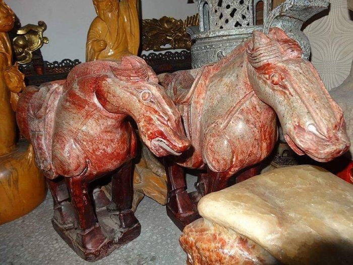 【御寶閣Viboger】古董 文物 藝品 字畫 化石~玉雕 馬 玉馬 大型玉雕 馬到成功 一對 老玉 古玉 地方玉