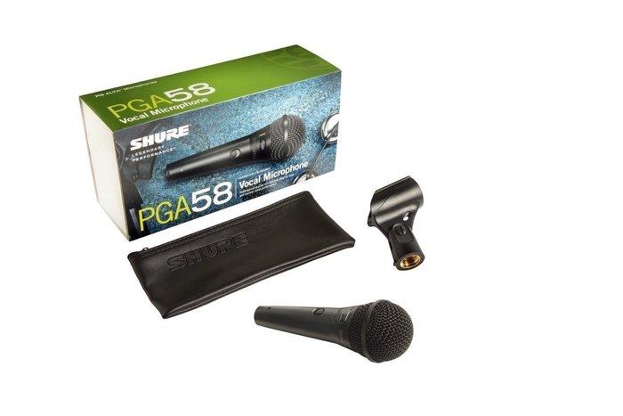 【六絃樂器】全新 Shure PGA58-LC 動圈式麥克風 PG58後繼機種 新麗聲公司貨 舞台音響設備 專業PA器材
