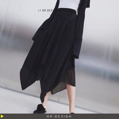 ►DR.DESIGN│DR2735-小眾先鋒設計 四條飄帶 飄逸 多層立體 拼接不規則 A字 超美紗裙