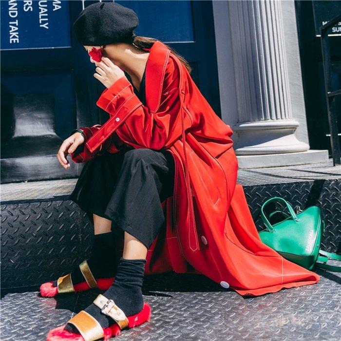 閨格紅色風衣女 中長款秋裝新款 chic港風過膝英倫休閒外套薄【May Cool】