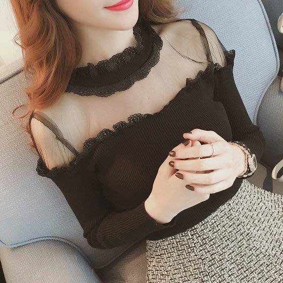 新款名媛性感網紗透視露肩針織衫女修身顯瘦蕾絲邊打底毛衣