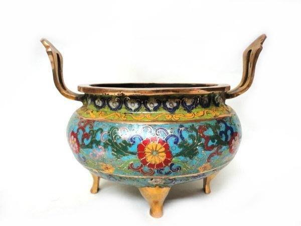 藏雅軒-早期收藏-景泰藍銅爐-雙耳平口四足鼎