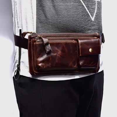 腰 包 真皮 手拿包-純色牛皮多隔層大容量男包包4色73tr15[獨家進口][米蘭精品]