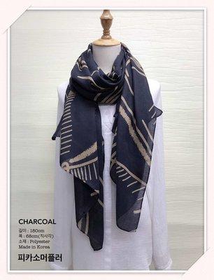 韓國製花紋薄襯衫圍巾 korea Scarf
