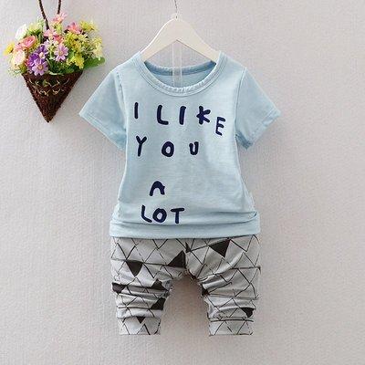【現貨-E3106】1-4歲男女小童短袖套裝/夏天短袖套裝(上衣+褲子)