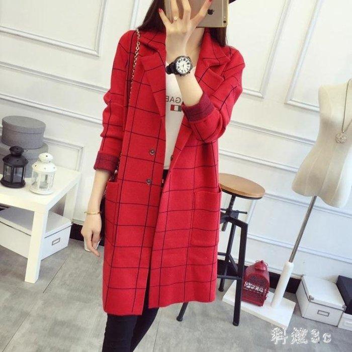 中長款針織開衫 大碼秋季寬鬆大碼毛衣外套女 韓版修身顯瘦針織女裝 qf12832