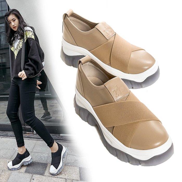 【美達】2019秋季新款厚底松糕鞋女真皮坡跟懶人單鞋拼色一腳蹬高跟休閑鞋