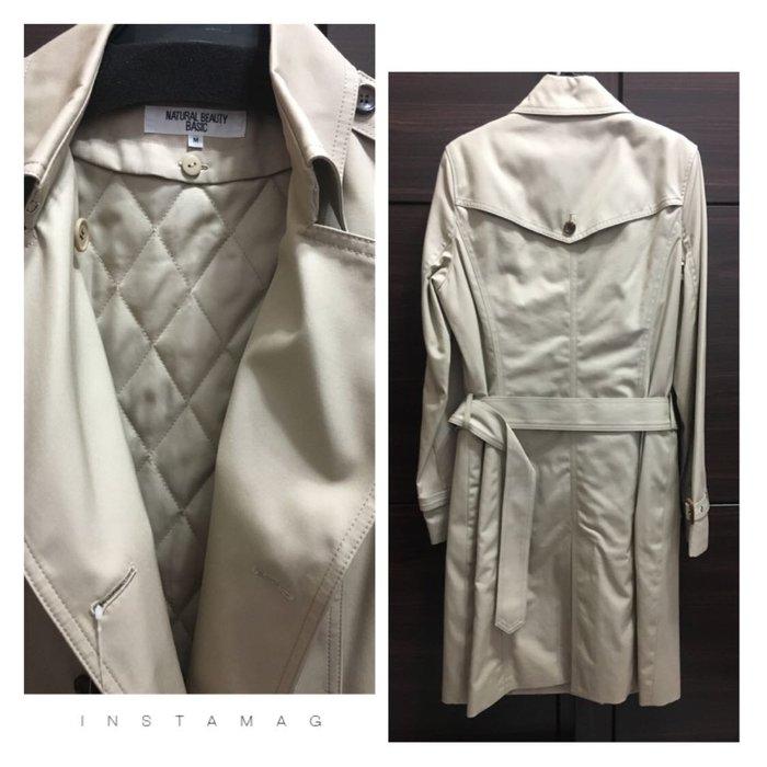 全新未穿 NATURAL BEAUTY BASIC 雙排扣 兩件式舖棉 綁帶風衣
