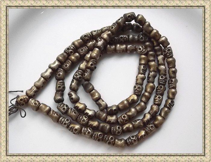 【雅之賞|藏傳|佛教文物】*特賣* 尼泊爾 銅骷髏頭 108顆佛珠~120509