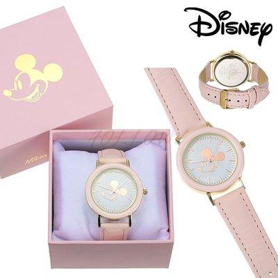 *FollowV*日本飾品《現貨》米老鼠米奇 少女玫瑰金 粉紅色皮革錶帶 三針手錶/腕錶 絕版 迪士尼商店