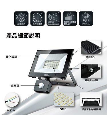 小翰館 專業賣家 ~【太星電工】30W LED感應投射燈/220V/白光