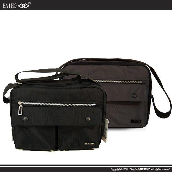 【良林皮件】【BAIHO】(台灣製)F16雙拉鍊層休閒側背包