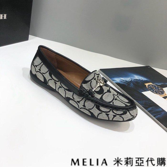 Melia 米莉亞代購 歐美精品女鞋 商城特價 COACH 開車鞋 休閒鞋 豆豆鞋 C紋專用帆布 羊皮鞋墊 黑色