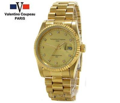【JAYMIMI傑米】Valentino范倫鐵諾古柏不鏽鋼腕錶-日本機芯-金色男石英鑽錶-送禮佳