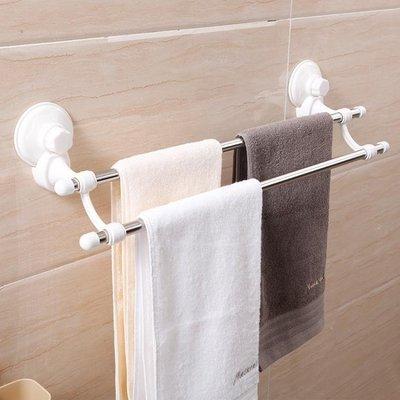 誠信家具 衛生間不銹鋼雙桿吸盤式毛巾架浴室無痕掛架免打孔廚房毛巾桿掛桿