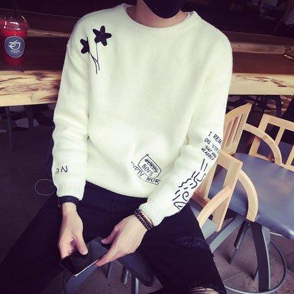 2018春季新款韓版毛衫刺繡毛衣 春季情侶男士圓領針織衫 預購款