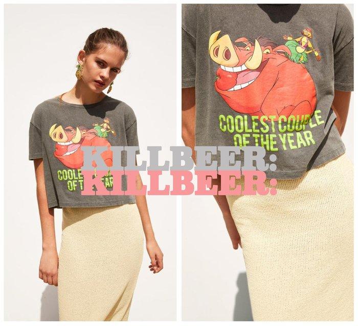 KillBeer:經典就是不會被換之 歐美復古獅子王合作款彭彭丁滿印花鐵灰棉質短版T恤上衣061602