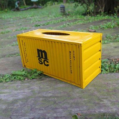MSC 黃色貨櫃面紙盒一個 + 木棧板杯墊兩組8個【ZenCup】