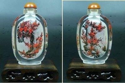 紅梅花開中國特色手工藝品外事商務禮品送長輩水晶內畫鼻煙壺 壺說118