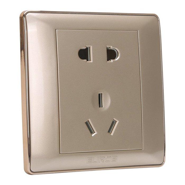 千夢貨鋪-歐奔86型插座家用面板斜5五孔16A空調墻壁帶USB暗裝金色開關插座#插座#開關插座#暗盒#三孔插座#爆款