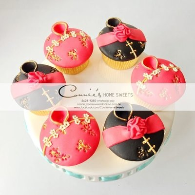 【Connie's Home Sweets】Traditional Chinese theme Wedding Cupcake 傳統中式cupcake 新郎新娘系列