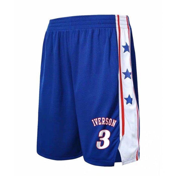 💖戰神Allen Iverson艾佛森運動籃球短褲💖NBA球衣76隊Adidas愛迪達健身訓練慢跑五分棉褲子男385