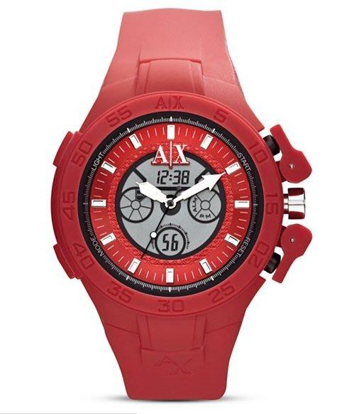 現貨【A|X ARMANI EXCHANGE- AX 1281】 全新正品 時尚 運動 電子 三眼錶 手錶 / 紅色