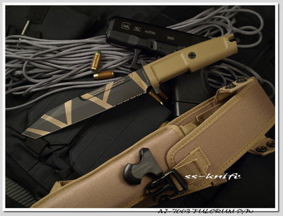 雙雄名家刀 品軍事重地/攔截者/沙漠米彩/齒型號:AJ-7003 FULCRUM D/W