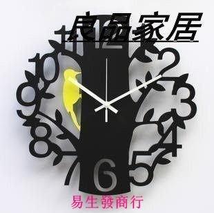 【易生發商行】藝術掛鐘靜音時尚創意客廳鐘表14寸數字掛表小鳥時鐘石英鐘 居家F6343