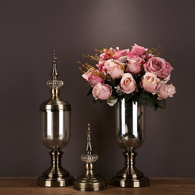 〖洋碼頭〗家居客廳裝飾品玻璃花瓶花器擺件仿真花歐式酒櫃花瓶樣板房間擺設 ysh147