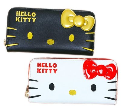【卡漫迷】 Hello Kitty 長夾 大臉 二款選一  ㊣版 手機包 拉鏈平口 皮夾 仿皮 零錢包 卡片夾 凱蒂貓