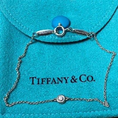 保證真品 蒂芬妮 Tiffany 單顆 5分 白色 鑽石 手鍊 手鏈 圓形 經典款 純銀 二手 正品 接近全新 蒂芙妮