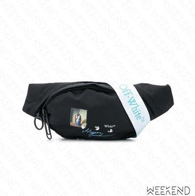 【WEEKEND】 OFF WHITE Logo Kiss 工業背帶 腰包 胸口包 黑色 20秋冬