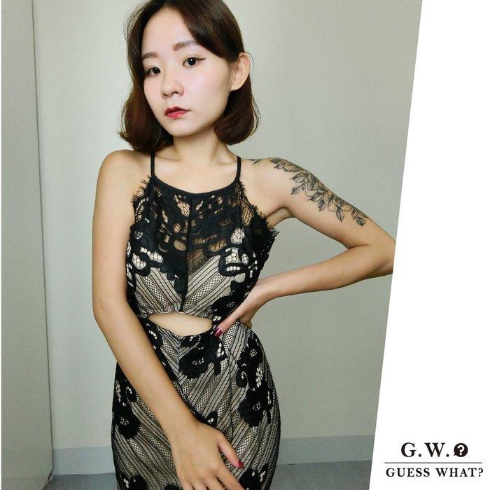 GW 削肩睫毛蕾絲前短後長貼身洋裝 性感連身裙 喜酒 派對 宴會 F尺寸 GUESSWHAT