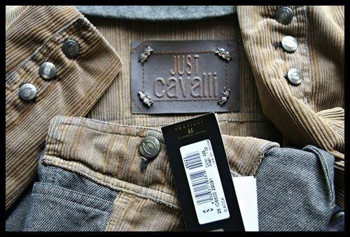 專櫃真品【roberto cavalli】副牌Just cavalli金屬銅釦皮標棉牛仔單寧異材拼接外套原價$78800