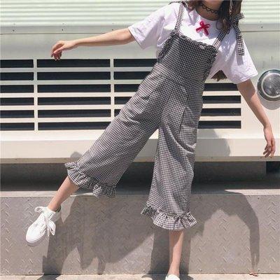 夏裝新款女裝正韓寬鬆    顯瘦學生格子闊腿褲木耳邊背帶褲百搭休閒褲禮物