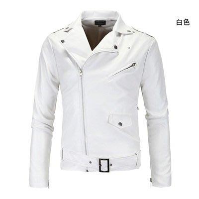 皮衣 外套 皮夾克-純色斜拉鍊腰帶裝飾男外套2色73ua4[獨家進口][米蘭精品]
