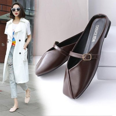 2018春夏新款韓版皮帶扣方頭平跟包頭拖低跟涼鞋外穿半拖鞋 AD555