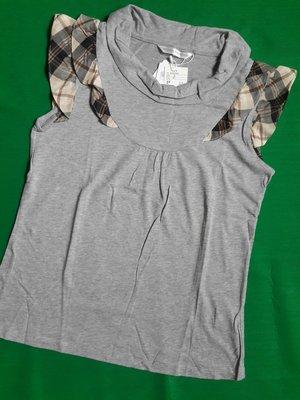 Kinloch Anderson金安德森全新經典灰色圓領部分格紋點綴無袖棉衫