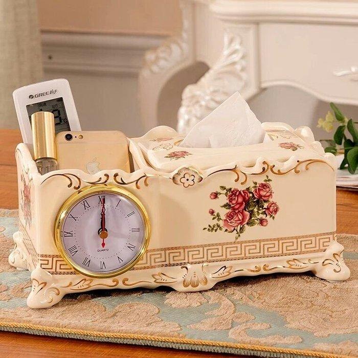 粉紅玫瑰精品屋~歐式高檔金玫瑰陶瓷面紙盒~
