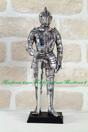 點點蘑菇屋{中古武士擺飾七}鐵甲武士 全身盔甲左腳向前電鍍效果 歐洲羅馬武士 現貨免運