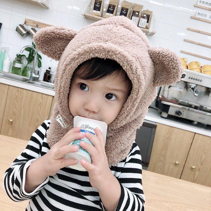 【 I Love Wawö 】超級超級可愛-毛絨立體耳朵熊熊套頭帽/3色 兒童 帽子 防風保暖