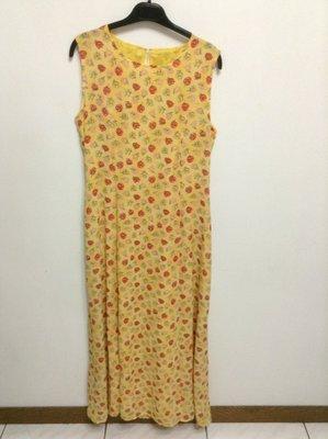 全新 義大利製 無袖黃底紅&淡粉花朵色長洋裝