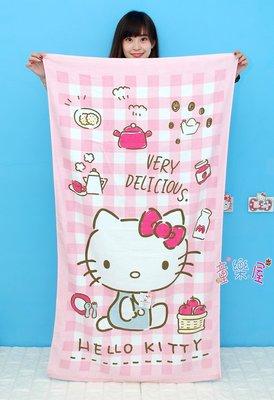 娃娃夢幻樂園~HELLO KITTY浴巾/海灘巾~kitty大浴巾~長140公分~正版三麗鷗凱蒂貓~台灣製造