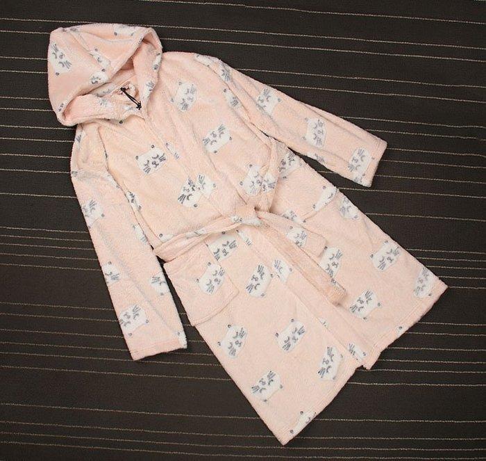 香港OUTLET代購 歐美品牌 珊瑚絨浴袍 粉色 貓咪 加厚 保暖 睡袍 中長款連帽 居家服 法蘭絨 睡衣