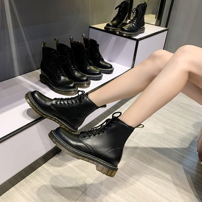 朵朵韓國鞋專賣~dr馬丁靴女2021新款短筒內增高英倫風厚底中筒切爾西短靴子ins潮