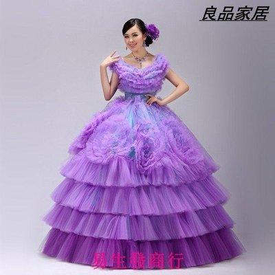 【易生發商行】舞臺演出服蓬蓬裙晚 禮服 一字肩紫色婚紗主持人晚 禮F6026
